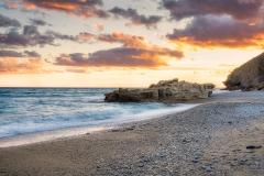 Atardecer en la playa de la Caleta